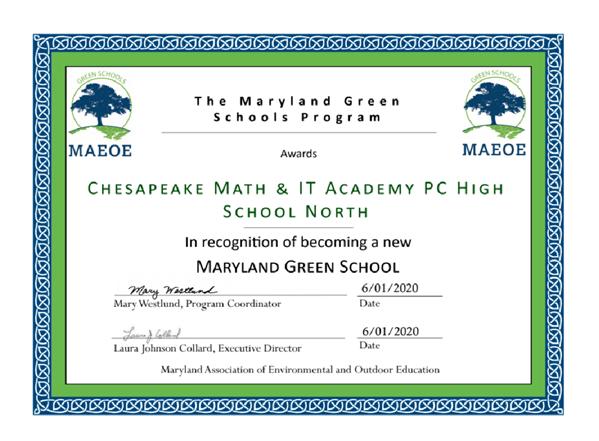 CMIT Green School certificate.png